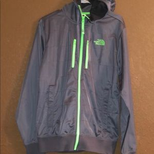 Small The North Face Grey/Neon Hooded Jacket